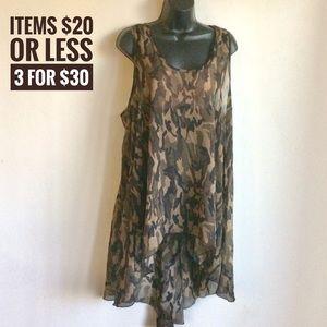 Camouflage Print Sheer HiLow Top Size 3X (Zenobia)
